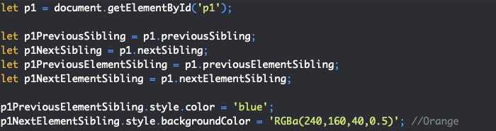Présentation des propriétés JavaScript previousSibling nextSibling previousElementSibling et nextElementSibling du DOM
