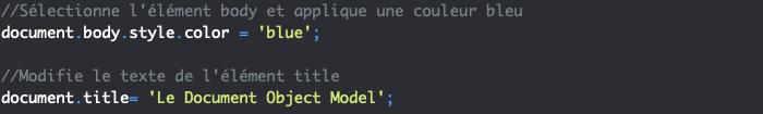Présentation des propriétés body et title de l'interface Document en JavaScript