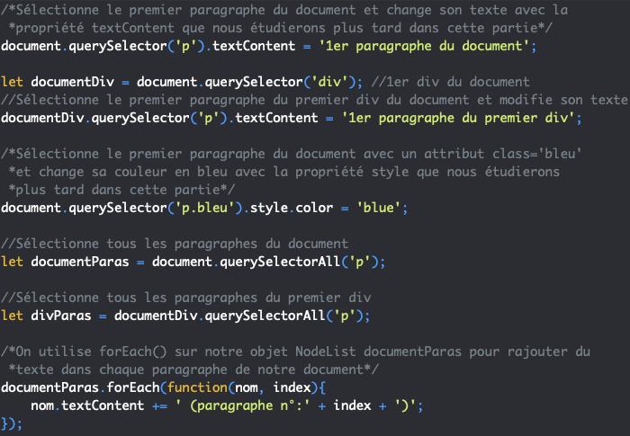 Présentation des méthodes querySelector et querySelectorAll de l'objet JavaScript Document