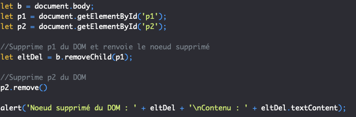On utilise la méthode remove ou removeChild en JavaScript pour supprimer un noeud du DOM