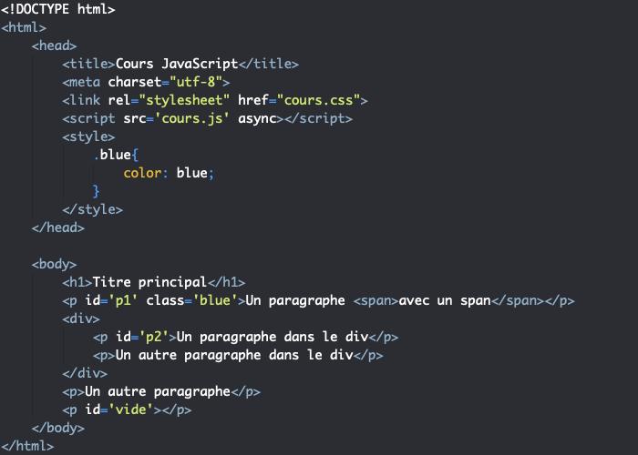 Code HTML support pour exemple d'utilisation de setAttribute en JavaScript avec le DOM