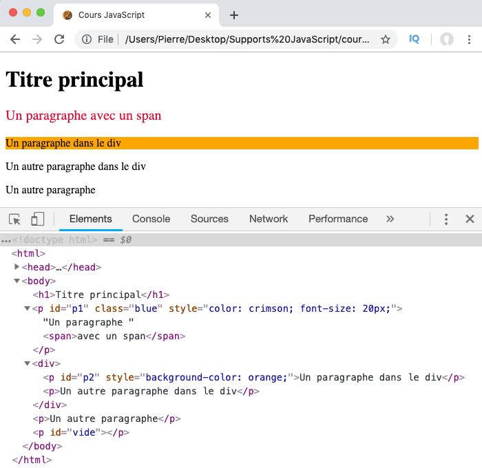 """Exemple d""""utilisation de la propriété JavaScript DOM style et modification des styles CSS d'un élément"""
