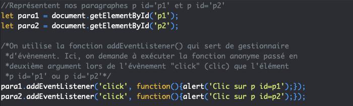 Exécution fonction anonyme lors d'une évènement en fonction de rappel en JavaScript