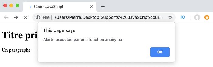 Résultat de l'exemple d'exécution de fonction anonyme via une variable en JavaScript