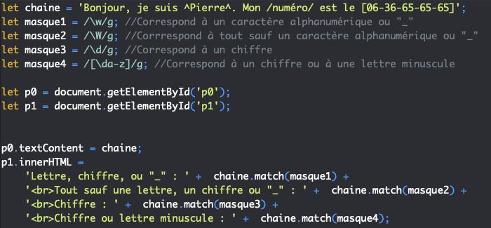 Présentation des classes abrégées des expressions régulières en JavaScript