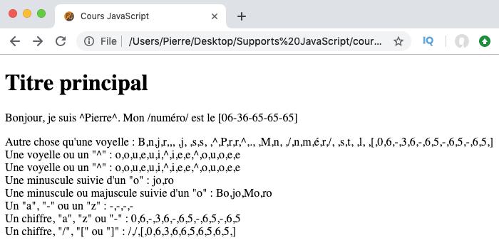 Exemple d'utilisation des métacaractères des classes de caractères des expressions régulières en JavaScript