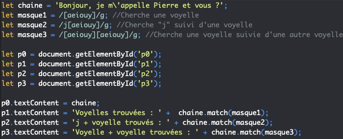Présentation des classes de caractères des expressions régulières en JavaScript