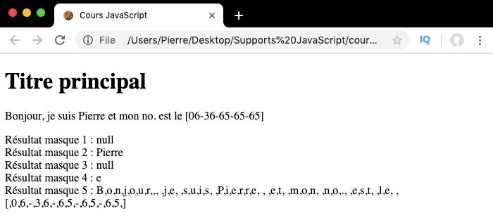 Exemple d'utilisation des drapeaux des expressions régulières en JavaScript