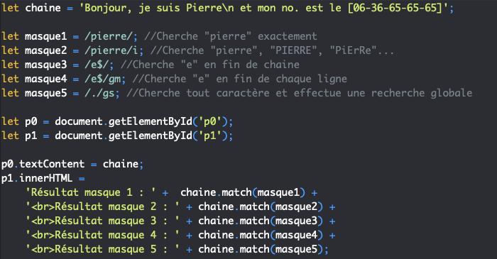 Code HTML support pour présentation des drapeaux des expressions régulières en JavaScript