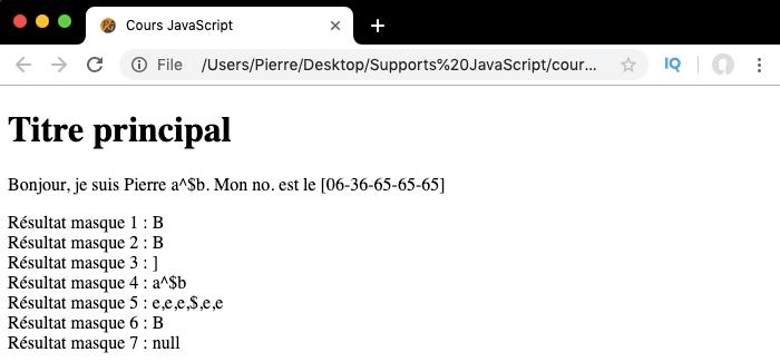 Exemple d'utilisation des métacaractères ancres des expressions régulières en JavaScript