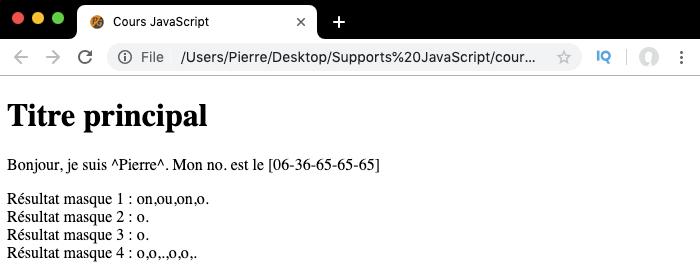 Exemple d'utilisation du métacaractère point des expressions régulières en JavaScript