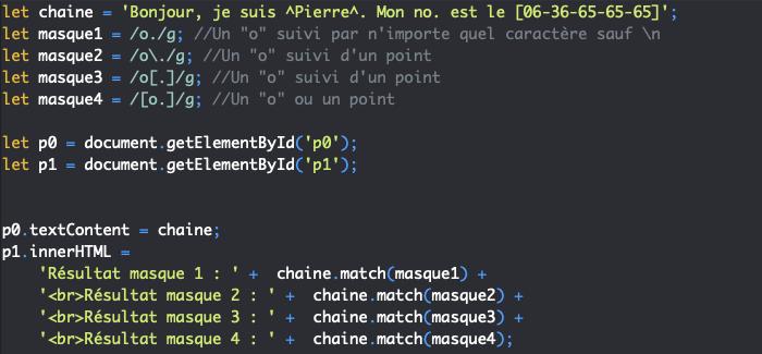 Présentation du métacaractère point des expressions régulières en JavaScript
