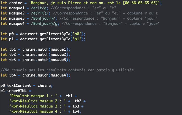 Utilisation des parenthèses dans les expressions régulières JavaScript pour créer des sous masques capturants