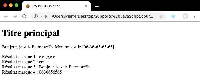 Exemple d'utilisation des quantificateurs des expressions régulières en JavaScript