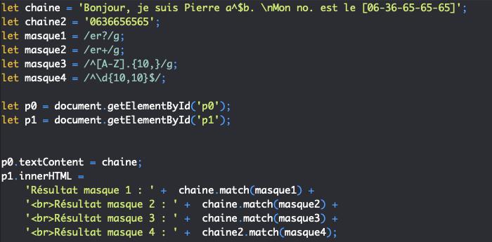 Présentation des quantificateurs des expressions régulières en JavaScript