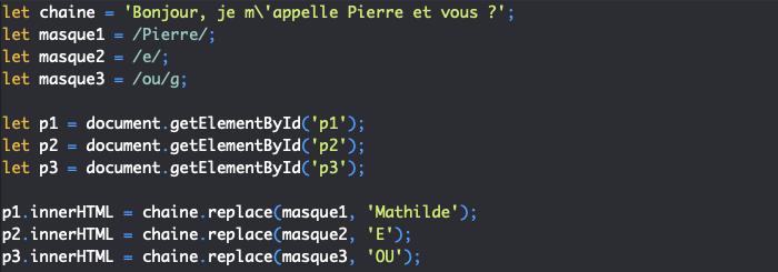 Présentation de la méthode replace de String et utilisation avec les expressions régulières en JavaScript