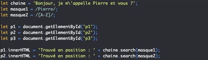 Présentation de la méthode search de String et utilisation avec les expressions régulières en JavaScript