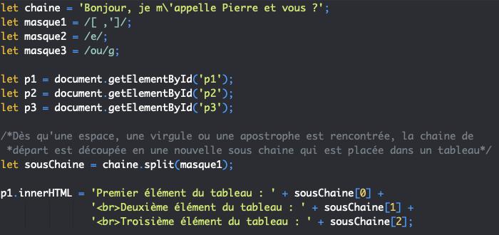Présentation de la méthode split de String et utilisation avec les expressions régulières en JavaScript