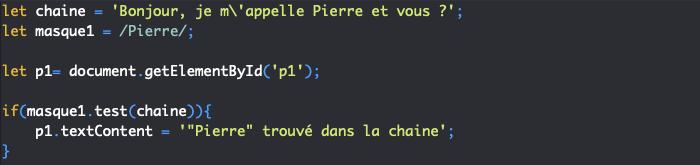 Présentation de la méthode test de RegExp et utilisation avec les expressions régulières en JavaScript