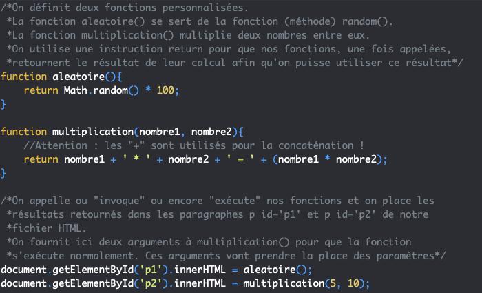 Création d'une fonction personnalisée JavaScript avec function