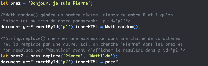 Utilisation de fonctions prédéfinies ou natives en JavaScript