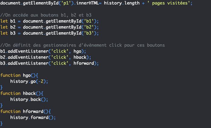 Présentation des méthode go back et forward de l'objet History en JavaScript