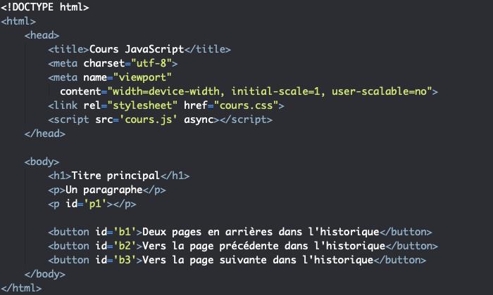 Code HTML support pour présentation des propriétés et méthodes de l'objet JavaScript History