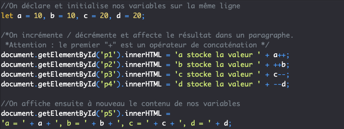 Présentation des opérateurs d'incrémentation et de décrémentation en JavaScript
