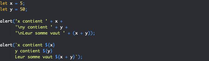 Présentation des littéraux de gabarits ou template litterals en JavaScript