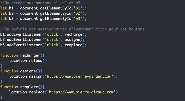 Présentation des méthodes reload assign et replace de l'objet JavaScript Location