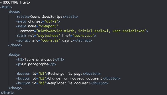 Code HTML support pour présentation des propriétés et méthodes de l'objet Location