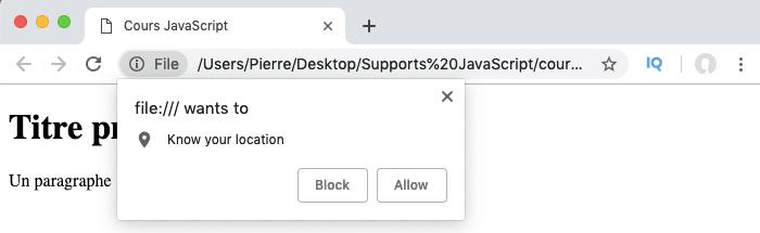 On demande l'accès à la géolocalisation pour l'utilisateur en JavaScript