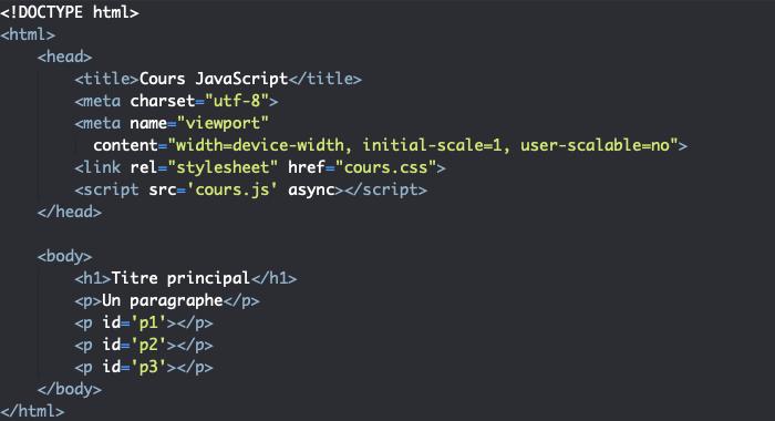 Code HTML support pour présentation des propriétés de l'objet JavaScript Navigator