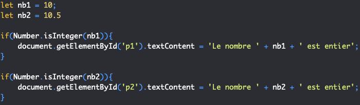 Présentation de la méthode isinteger de l'objet JavaScript Number
