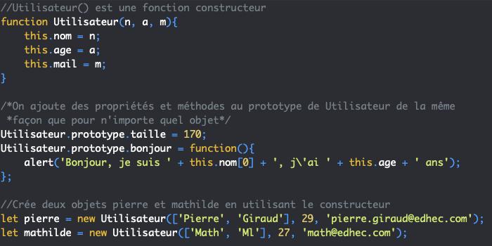 On modifie le prototype d'un constructeur JavaScript en orienté objet