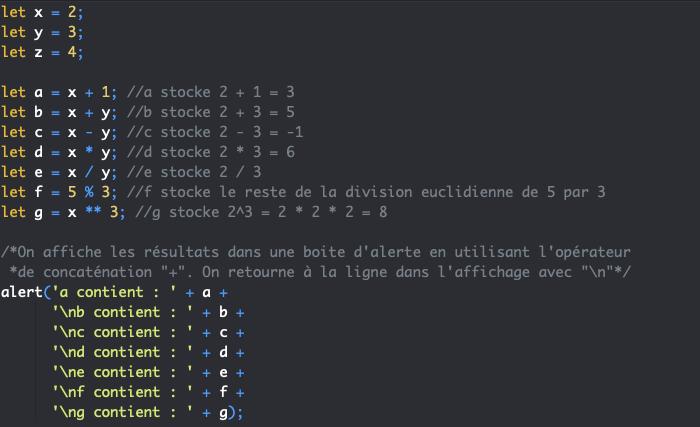 Présentation des opérateurs JavaScript arithmétiques