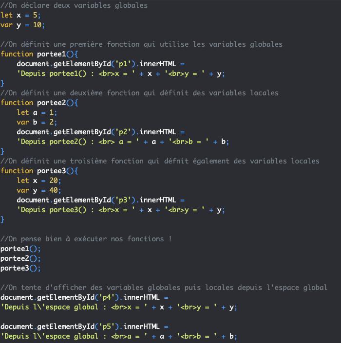 Présentation de la portée des variables globale locale JavaScript