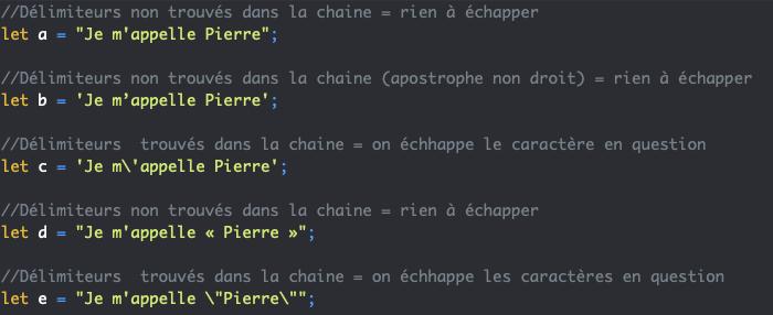 Utilisation des apostrophes et guillemets et du caractère d'échappement antislash en JavaScript