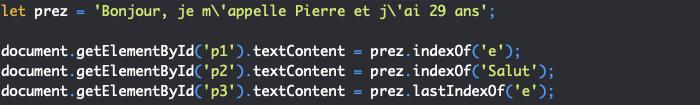 Présentation des méthodes indexof et lastindexof de l'objet JavaScript String