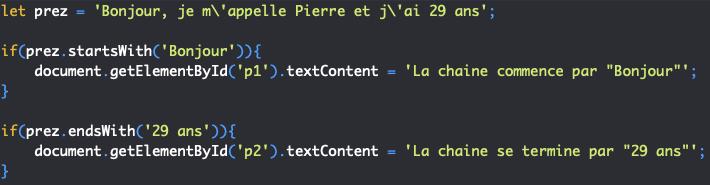 Présentation des méthodes startswith et endswith de l'objet JavaScript String