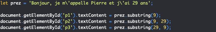 Présentation de la méthode substring de l'objet JavaScript String