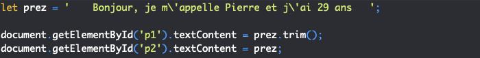Présentation de la méthode trim de l'objet JavaScript String