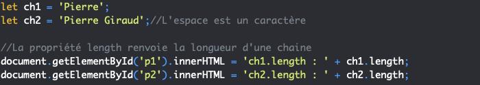 Présentation de la propriété length de l'objet JavaScript String
