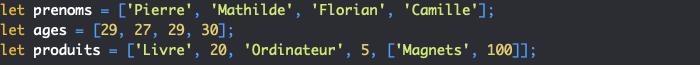 Créer des tableaux en JavaScript
