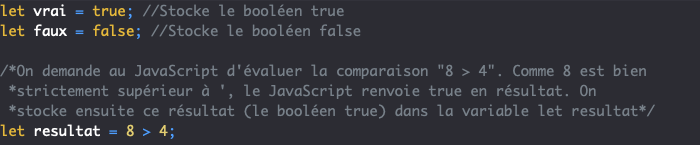 On peut stocker un booléen true ou false dans une variable JavaScript