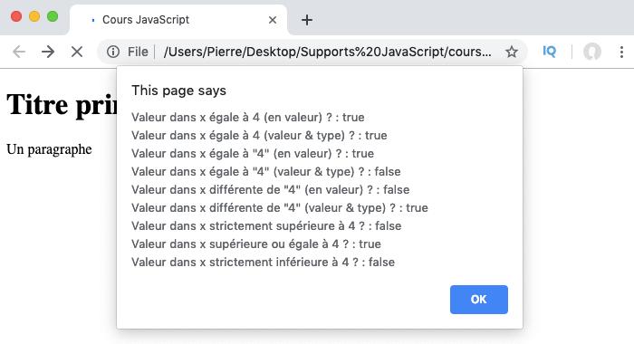 Exemple d'utilisation des opérateurs de comparaison et booléens renvoyés par le JavaScript