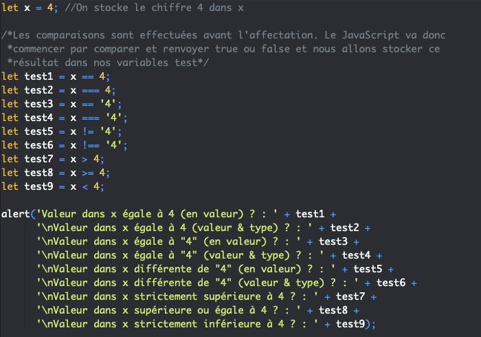 Présentation des opérateurs de comparaison JavaScript