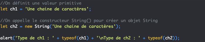 Valeurs primitives de type string et objet constructeur String en JavaScript