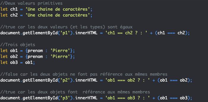 Le passage des valeurs par référence et l'égalité des objets en JavaScript