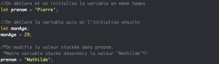 On modifie la valeur stockée par une variable en JavaScript
